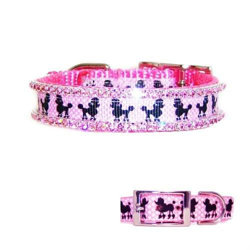 Poodle dog collar with poodle print ribbon in pink with pink crystals.