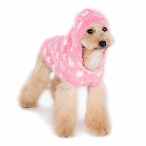 Pink Sweetheart Dog Sweater with hood