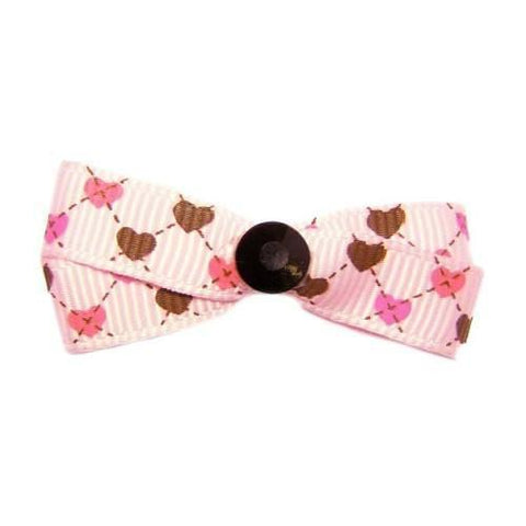 A cute hearts printed dog hair bow made to match our precious hearts pet collar.