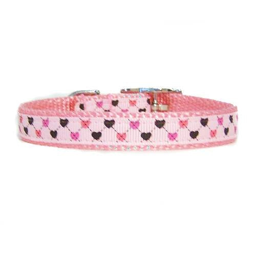 Precious Hearts Printed Nylon Pet Collar - For dogs and cats - dog-collar-fancy