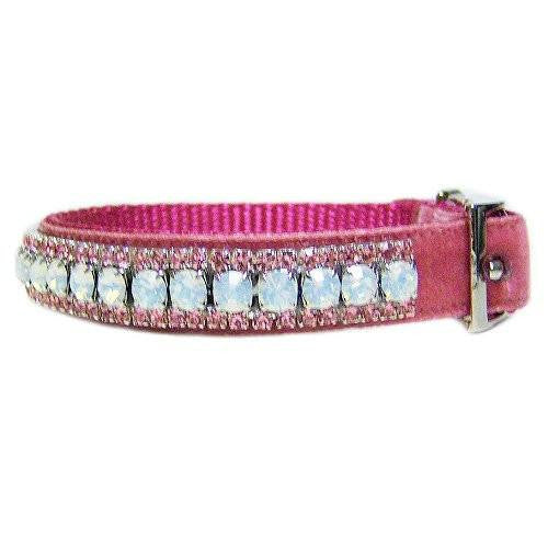 A beautiful velvet pet collar with opal and pink crystals.