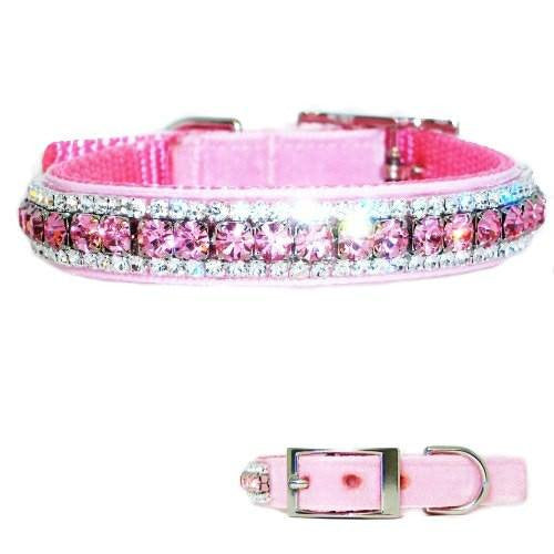 A pretty pastel pink velvet pet collar for girl dogs with light pink and clear crystals.