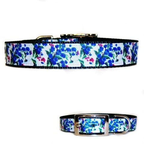 A blue and pink floral printed dog collar for medium to large dogs.