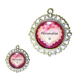 A photo of a pretty pink heart with bow decorates this lovely personalized pet collar charm.