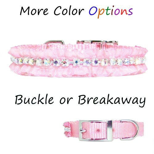 Pretty Little Thing Ruffled Crystal Pet Collar - Small to Medium Dogs - dog-collar-fancy