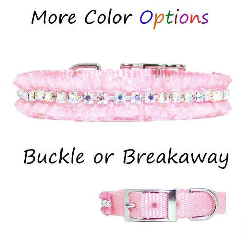 This lovely ruffle pet collar with crystals will show your pretty little pet off.