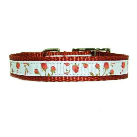 Pretty Roses Decorated Pet Collar - For dogs and cats - dog-collar-fancy