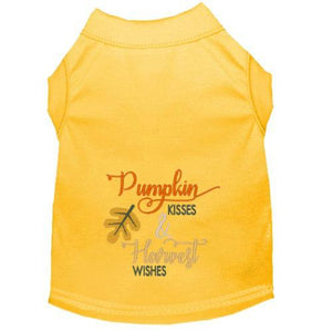 Pumpkin Kisses & Harvest Wishes dog shirt in yellow.