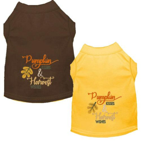 Pumpkin Kisses & Harvest Wishes embroidered dog tee shirts.
