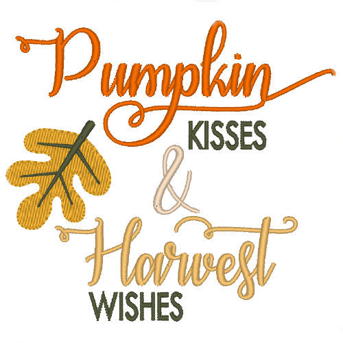 Pumpkin Kisses & Harvest Wishes dog shirt embroidery close up.