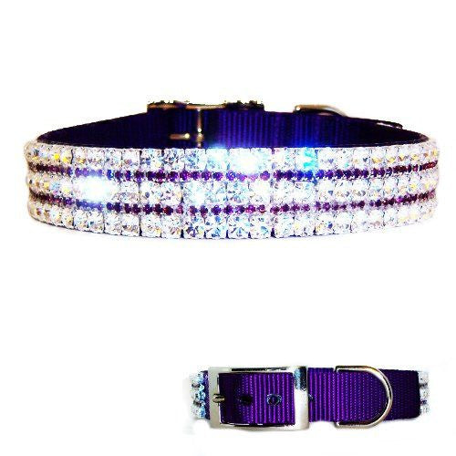 This very sparkly purple dog collar for large dogs has some very big bling!