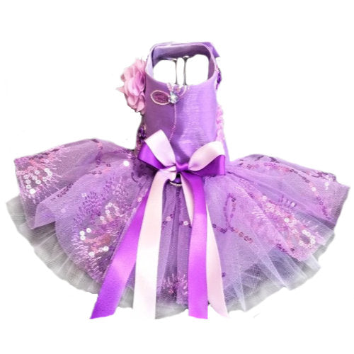 Purple and Lilac satin dog dress with sequins