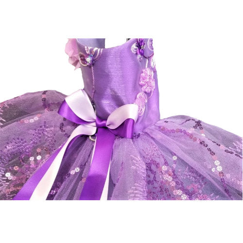 Queen of Purple Sequin Dog Dress side view