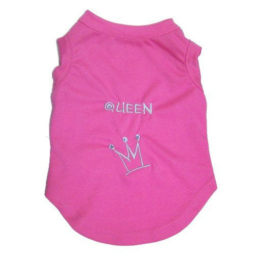 Cute dog shirt with the word queen and a rhinestone embellished crown embroidery.