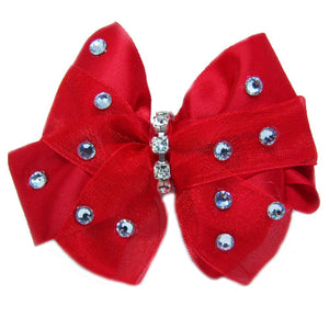Red Satin and Tulle Dog Bow - dog-collar-fancy