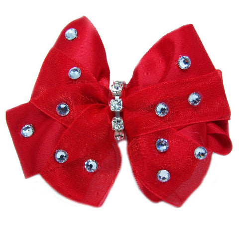Red satin and tulle dog bow with crystals