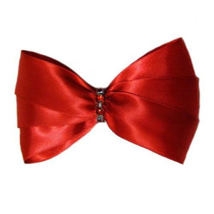 A red satin dog bow with red crystals for large dogs.