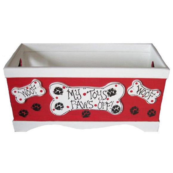 Hot red dog toy box with bone cut out handles