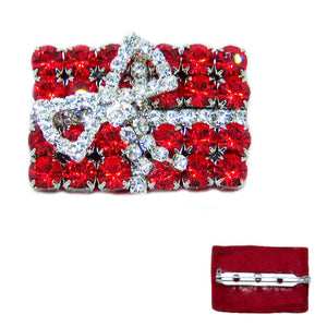 Red Gift Box with Bow Christmas Brooch