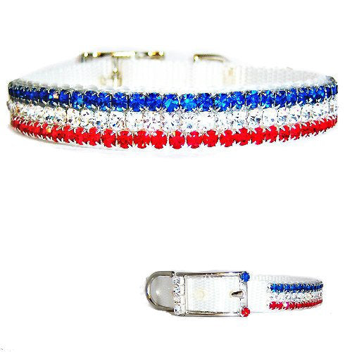 Red White and Blue Crystal Pet Collar - For dogs and cats - dog-collar-fancy