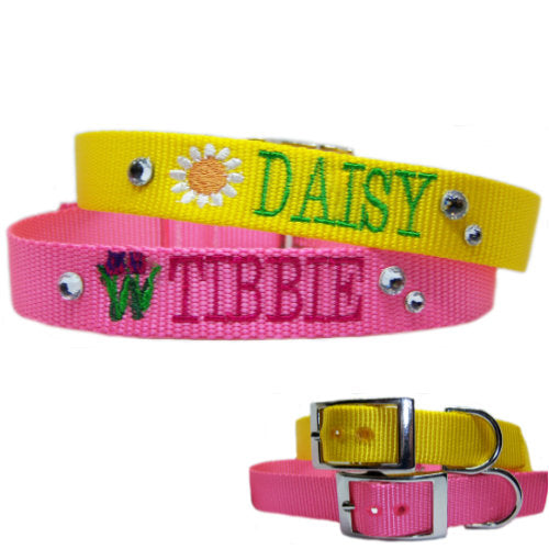 Personalized dog collars with flowers and crystals for girl dogs