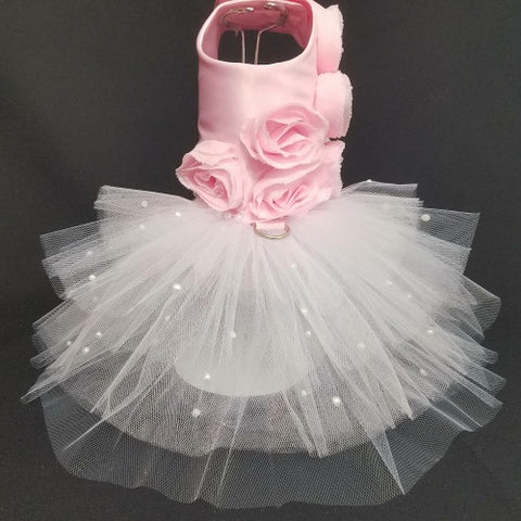 Pretty Pink Roses dog dress with tulle skirt.
