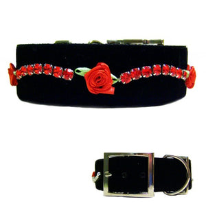 Black velvet, roses and crystals large dog collar.
