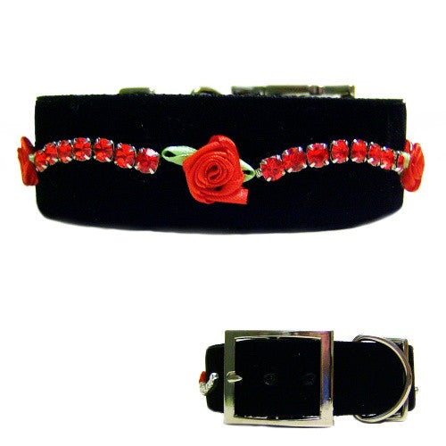 Velvet and Roses Crystal Big Dog Collar - For medium to large - dog-collar-fancy
