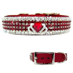 Royal Crown Ruby Crystal Dog Collar