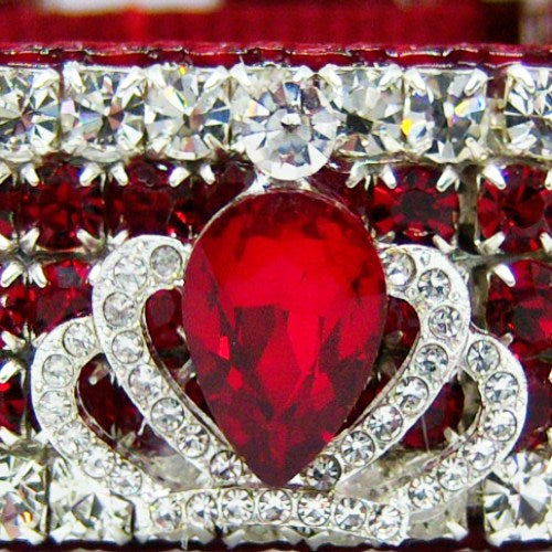 Royal Crown Ruby Crystal Dog Collar close up.