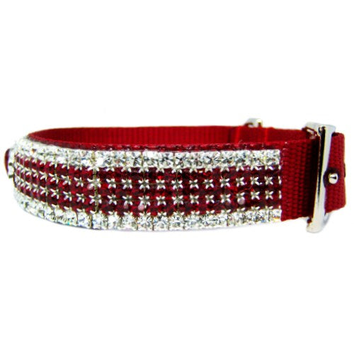 Royal Crown Ruby Crystal Dog Collar side view