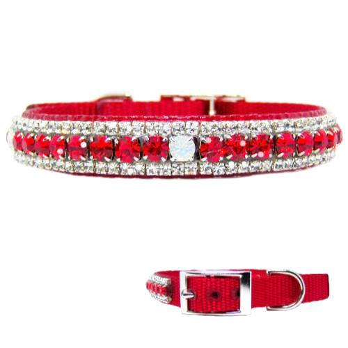 Rubies and Opal Jeweled Pet Collar - For dogs and cats - dog-collar-fancy