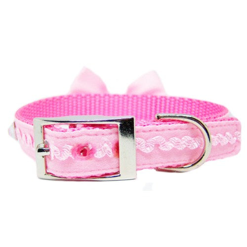 Ruffles and Bling Pet Collar in Pink - For dogs and cats - dog-collar-fancy