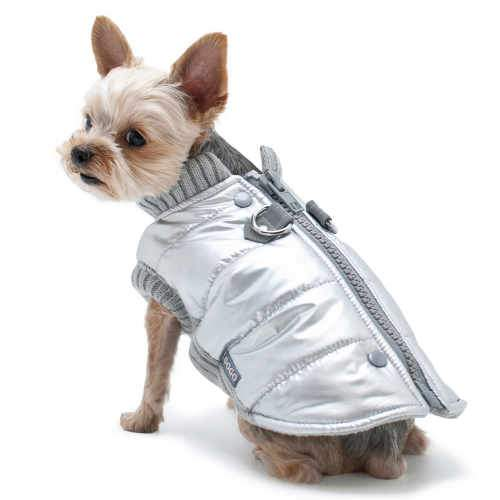 Shiny Silver Dog Coat for warmth and style