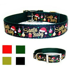 Santa Baby metallic Christmas dog collar