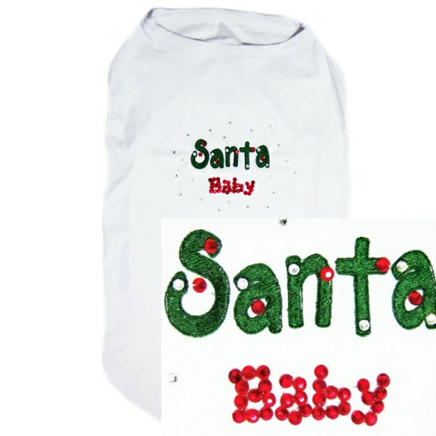 Santa baby Christmas dog shirt with rhinestones