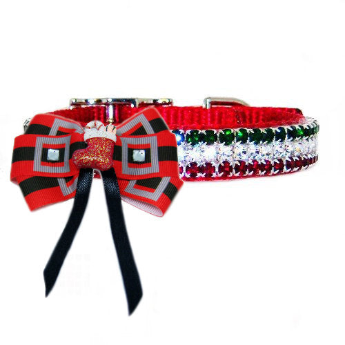 Santa Belt Christmas Dog Bow collar piece style