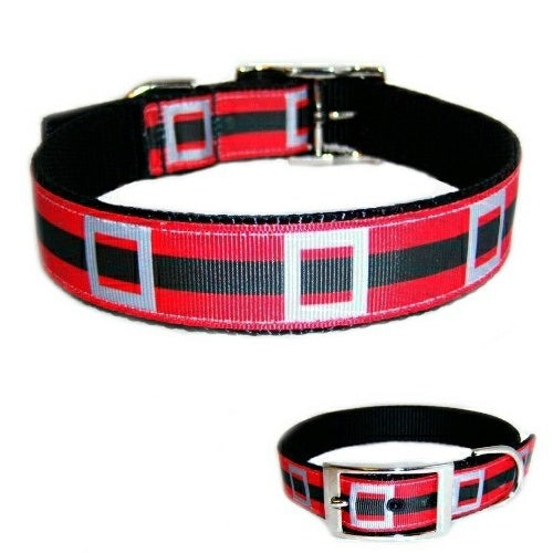 Santa Belt Christmas Dog Collar - For medium to large dogs - dog-collar-fancy