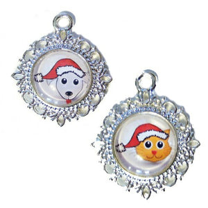Santa Pets Christmas charm in dog or cat style.
