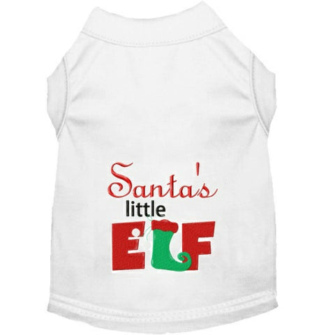 Christmas dog shirt with embroidered Santa's Little Elf