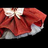 Gorgeous scarlet red sequin dog dress underskirt white tulle