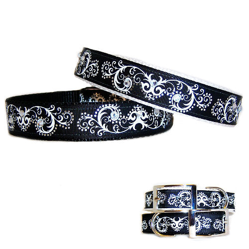 Scrolls and Bling Dog Collar one inch wide for medium to large dogs
