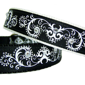 Scrolls and Bling Dog Collar - For medium to large dogs - dog-collar-fancy