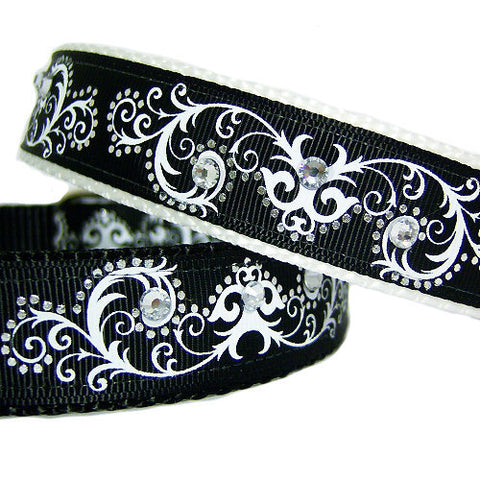 Scrolls and Bling Dog Collar - dog-collar-fancy