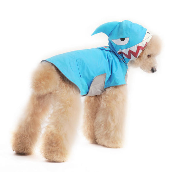 Shark dog raincoat with hood