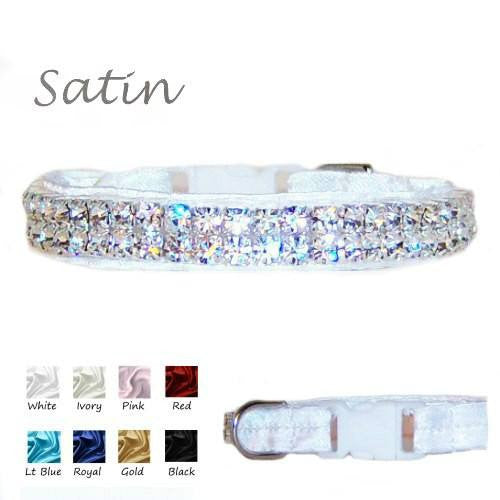 Our satin show dog collars come with crystals in the satin and crystal colors of your choice.