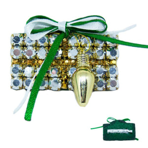 Silver and Gold Gift Box Christmas Brooch