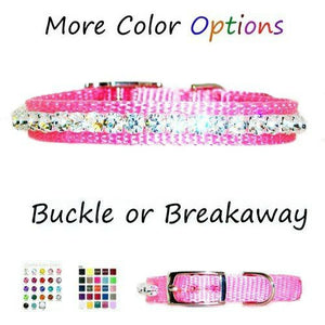 A custom made small pet collar with large crystals in your choice of colors.