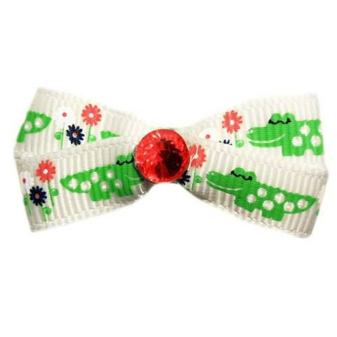 Smiling alligator and flowers printed dog hair bow with crystal.