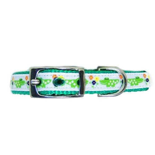 Smiling Alligator Printed Nylon Pet Collar - For dogs and cats - dog-collar-fancy